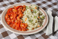 Chinese food. Close up with chinese food on a plate and a fork on table napkin Stock Images