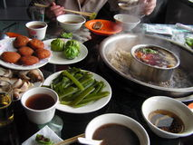 Chinese food. A table full of hot steamy Chinese food Royalty Free Stock Images