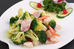 Chinese Food of Bacon fried shrimp with Broccoli Stock Photo