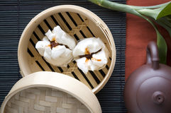 Chinese food in bamboo tray Royalty Free Stock Image