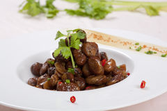 Chinese food bean. Do the crisp broad beans, packed in a white china plate royalty free stock images
