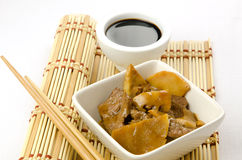 Chinese food, beef with bamboo and mushrooms Royalty Free Stock Photos