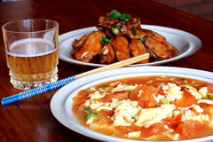Chinese food and beer Royalty Free Stock Images