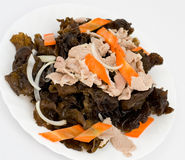 Chinese food. Boiled pork with timber fungus Stock Images