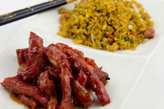 Chinese Food - Boneless spare ribs with Pork fried. Rice Stock Images