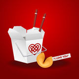 Chinese food box with chopsticks and fortune cookie Stock Photography