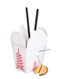 Chinese food box container with fortune cookie and chopsticks Stock Photography