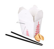 Chinese food box container with fortune cookie and chopsticks Stock Photo
