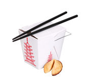 Chinese food box container with fortune cookie and chopsticks Stock Photos