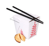Chinese food box container with fortune cookie and chopsticks Royalty Free Stock Photo