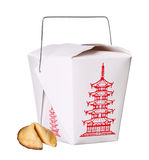 Chinese food box container with fortune cookie isolated Royalty Free Stock Image