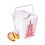 Chinese food box container with fortune cookie isolated Stock Images