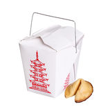 Chinese food box container with fortune cookie isolated Stock Image