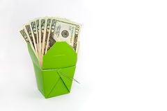 Chinese Food Box with Money Stock Photo