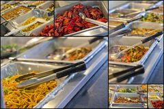 Chinese Food Buffet Trays Stock Photos