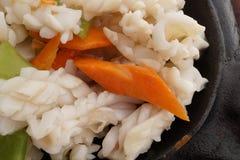 Chinese food. Calamari terrine with vegetables Royalty Free Stock Photo