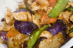Chinese food chicken eggplant vegetables Royalty Free Stock Image
