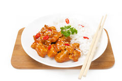 Chinese food - chicken in tomato sauce, rice Royalty Free Stock Images