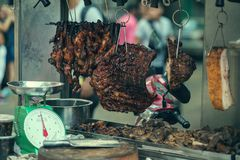 Chinese food in Chinatown store on the street in Kuala Lumpur, Malaysia . Crispy pork in soy sauce. For selling Royalty Free Stock Image