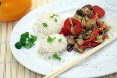 Chinese food and chopsticks Stock Photography