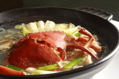 Chinese food, crab soup with seafood. A bowl of crab soup with seafood Royalty Free Stock Photos