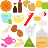 Chinese Food and Culture. Vector Icons of Chinese Food and Culture Royalty Free Stock Photos