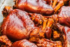 Chinese food delicacy Stewed Pig`s trotter closeup view. Chinese food delicacy Stewed Pig`s trotter closeup stock images