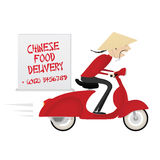 Chinese food delivery boy riding motor bike Royalty Free Stock Image