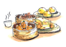 Chinese food, dim sum illustration Royalty Free Stock Image
