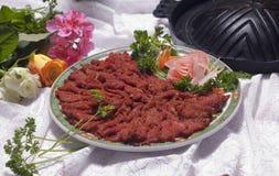 CHinese Food Dish. Chinese Food on a Plate, Mongolian Fondue Stock Photo