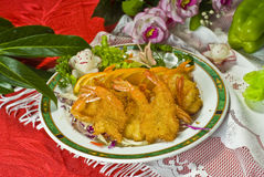 CHinese Food Dish. Chinese Food on a Dish, Fried Shrimp Stock Image