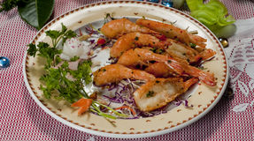 CHinese Food Dish. Chinese Food on a Dish, Fried Shrimp Stock Images