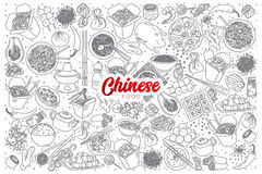 Chinese food doodle set with red lettering Stock Photography