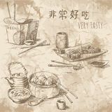 Chinese food drawings. 非常好吃 - very tasty Stock Photo