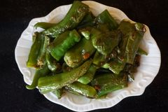 Chinese food Fried anaheim pepper royalty free stock photography