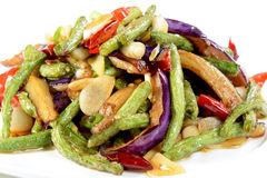 Chinese Food: Fried eggplant slices Stock Photography