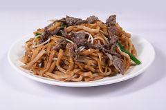 Chinese food. Fried noodles,with Beef, Bean sprouts Stock Photo