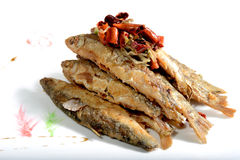 Chinese Food: Fried Small Fish with Pepper Stock Image