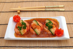 Chinese food - Gourmet broiled king tiger prawns stock images