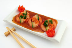 Chinese food - Gourmet broiled king tiger prawns on white Stock Photos