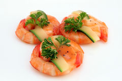 Chinese food - Gourmet broiled king tiger prawns on white royalty free stock photo