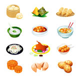 Chinese food icons. Colorful realistic icons of chinese popular food Royalty Free Stock Images