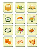 Chinese food icons | BAMBOO series. Colorful realistic chinese food icons over bamboo buttons Royalty Free Stock Photo