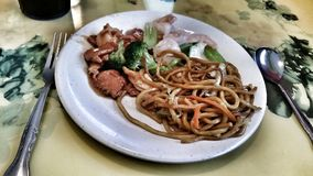 Chinese food lo mein noodles chicken broccoli shrimp Royalty Free Stock Images