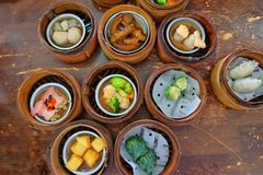 The Chinese food ,A many kind of Dim Sum in bamboo basket. stock photo