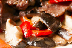 Chinese food--Mushroom and beef Stock Images