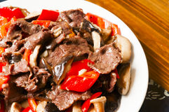 Chinese food--Mushroom and beef Stock Image