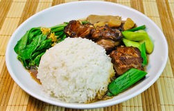 Chinese food Mutton rice with vegetable Stock Photo