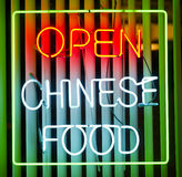 Chinese food neon sign Royalty Free Stock Photography