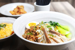Chinese food, noodle. With pork and egg inside Royalty Free Stock Images